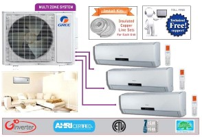 Gree Tri Zone MULTI30HP230V1AO NEO09HP230V1AH (TWO) NEO18HP230V1AH SEER 16 Ductless System